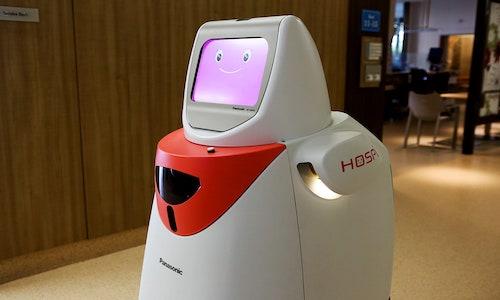 A robot in an office.
